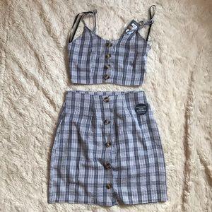 Plaid matching set
